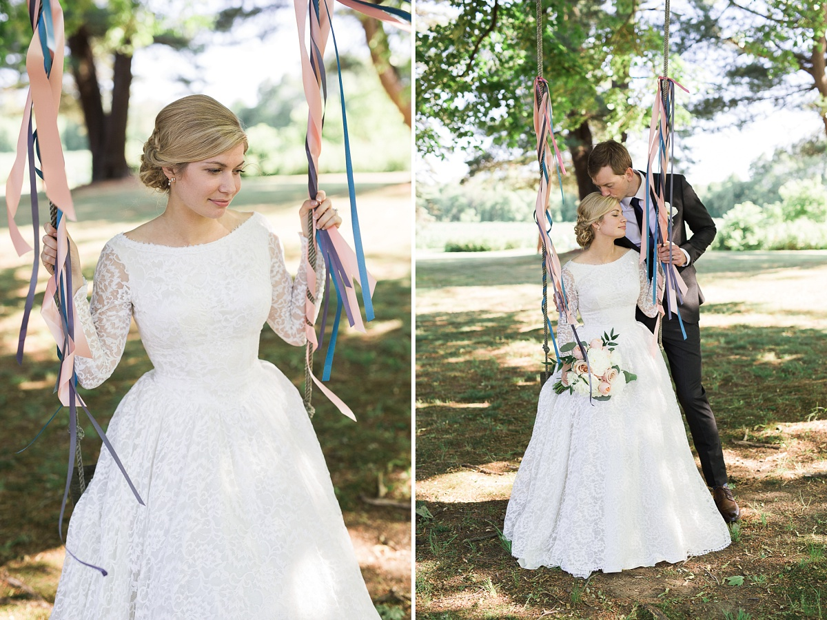 Bride sits on decorated swing outdoors