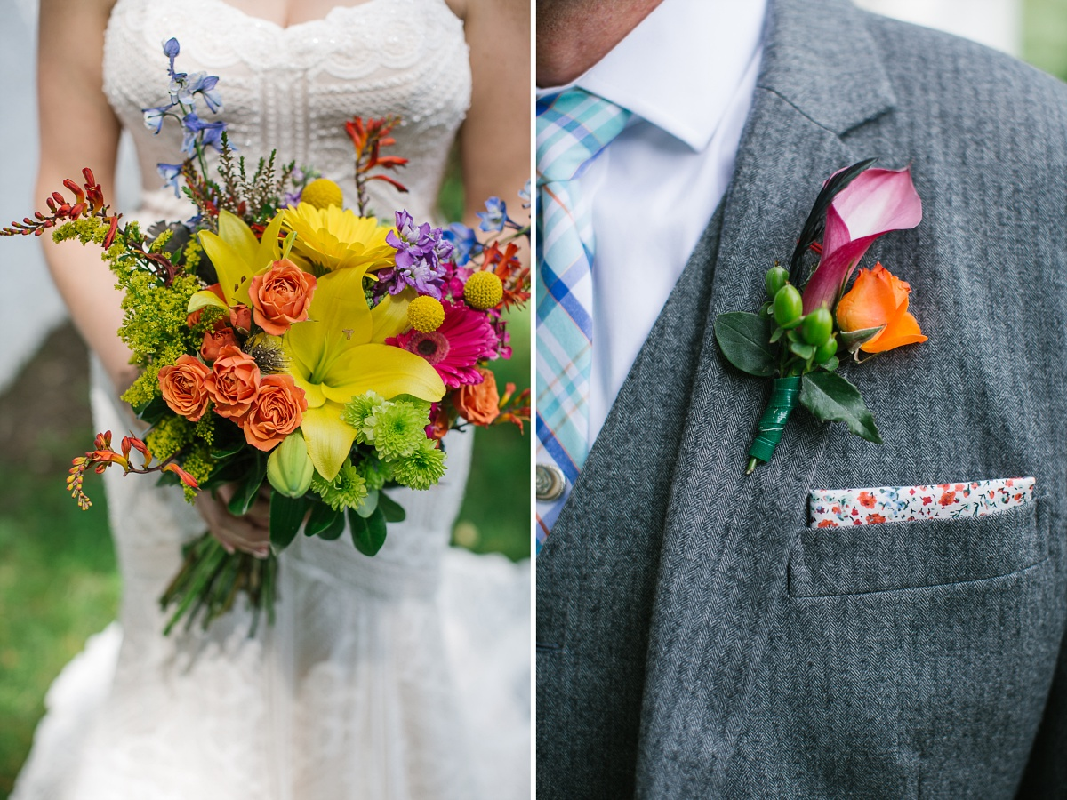 Bright and multicolored wedding bouquet and corsage