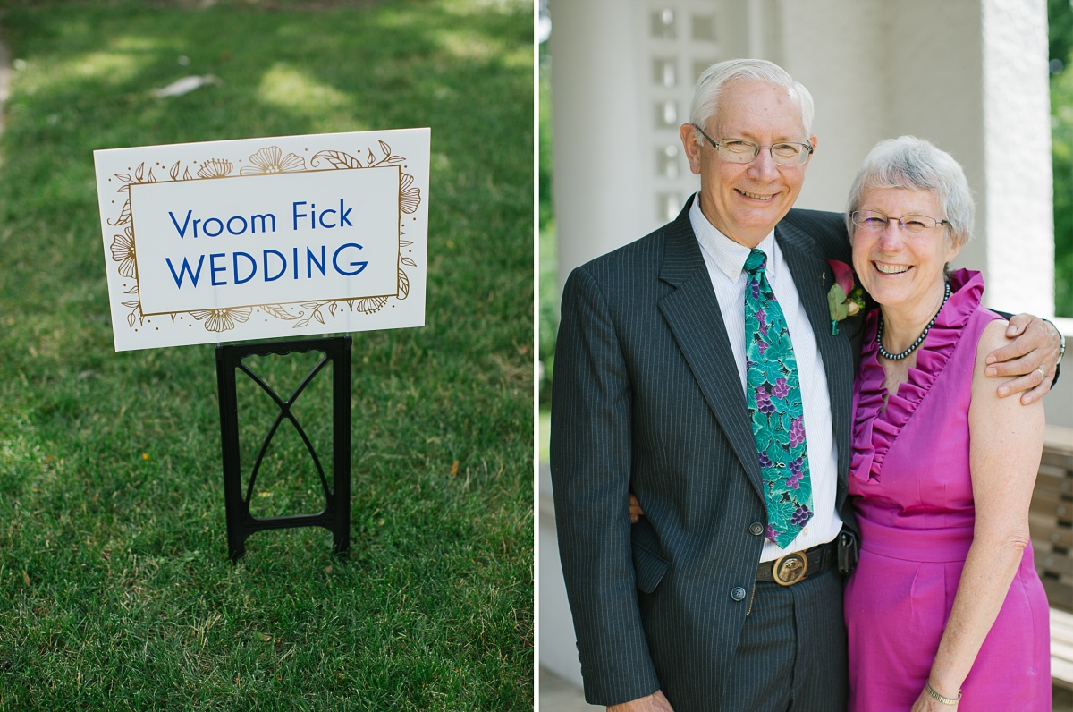 Elderly couple smile for the camera at a Wheaton Wedding
