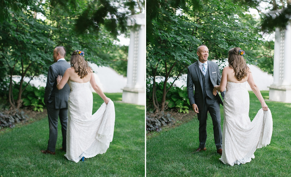 Bride surprises her groom and shows him her dress in the garden