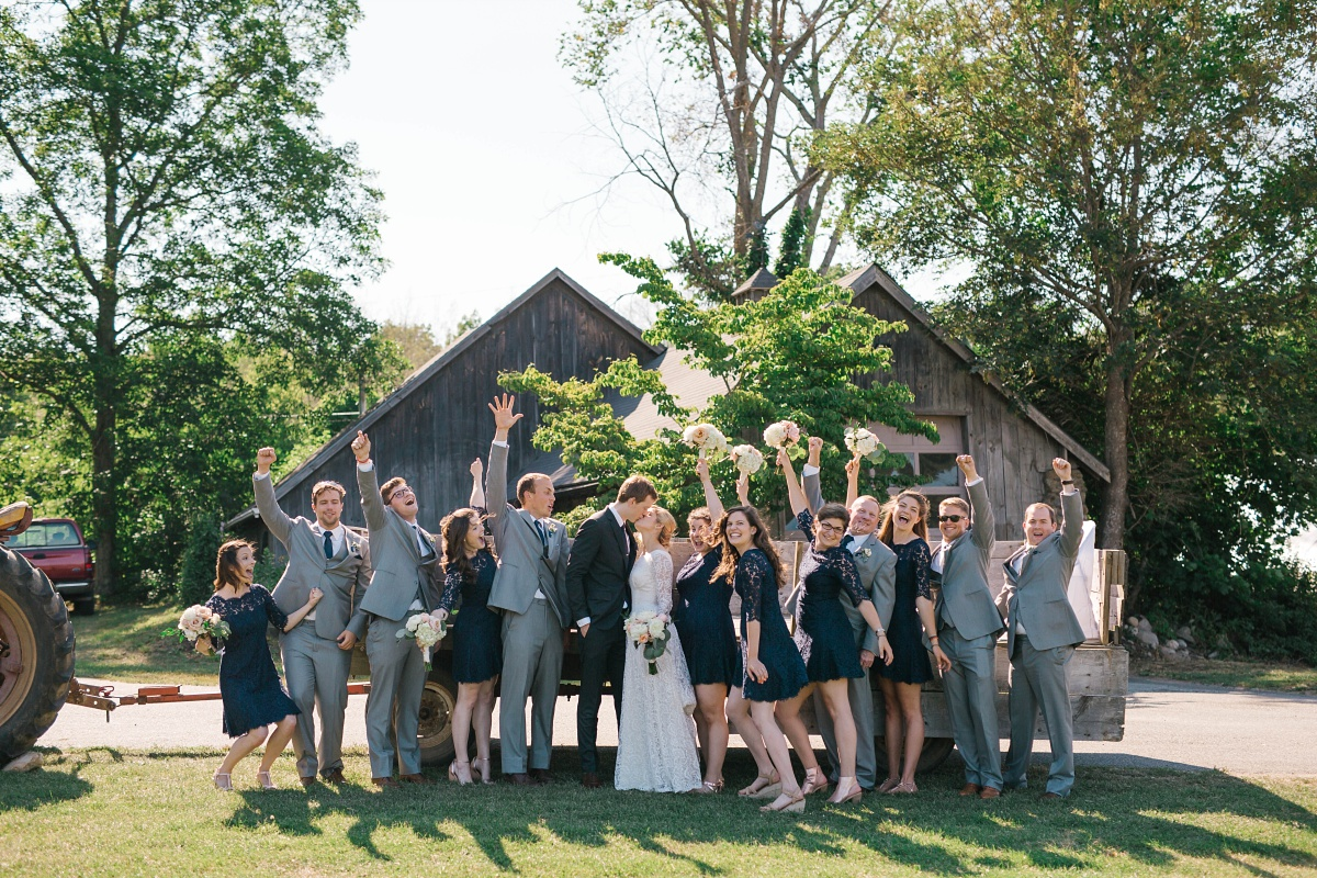 Vintage barn wedding party pictures