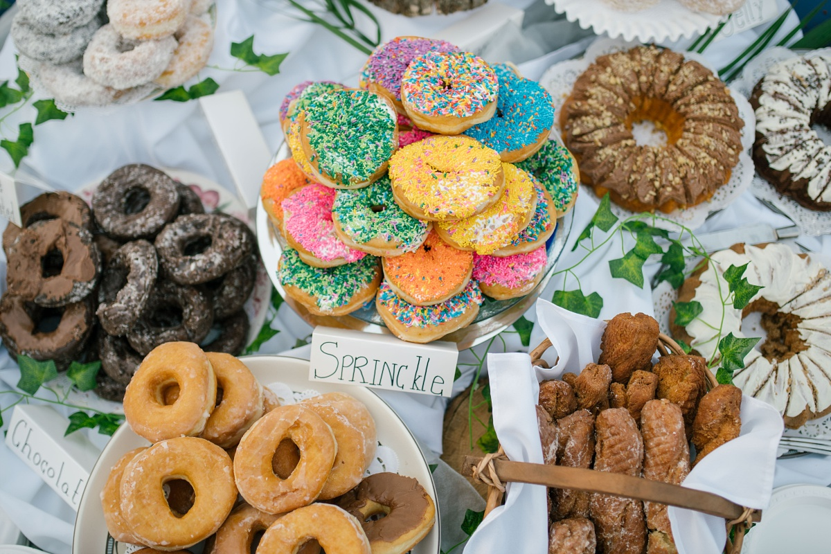 Doughnut bar at a wedding featuring Allie's Donuts from Rhode Island