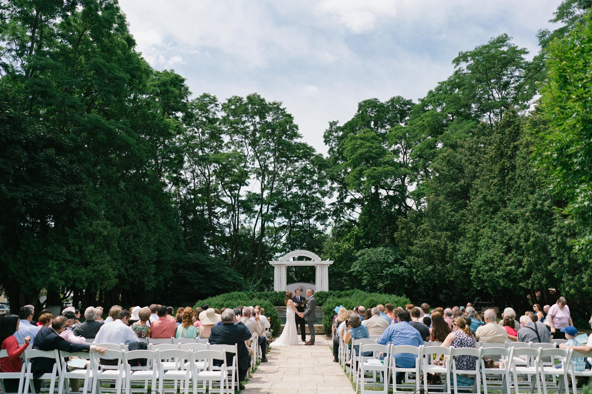 Breathtaking outdoor venue for wedding ceremony at Hurley Gardens in Wheaton, IL