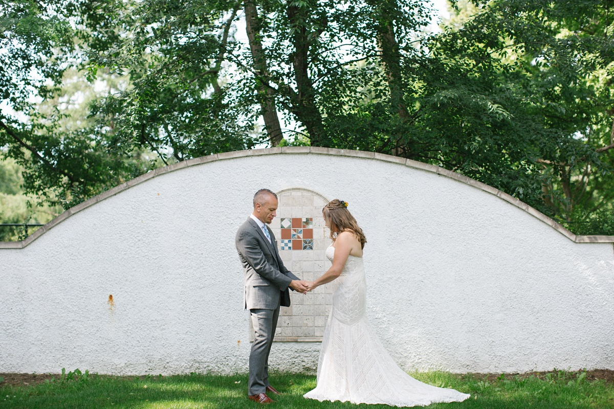 Bride and Groom before the ceremony at Hurley Gardens Wedding