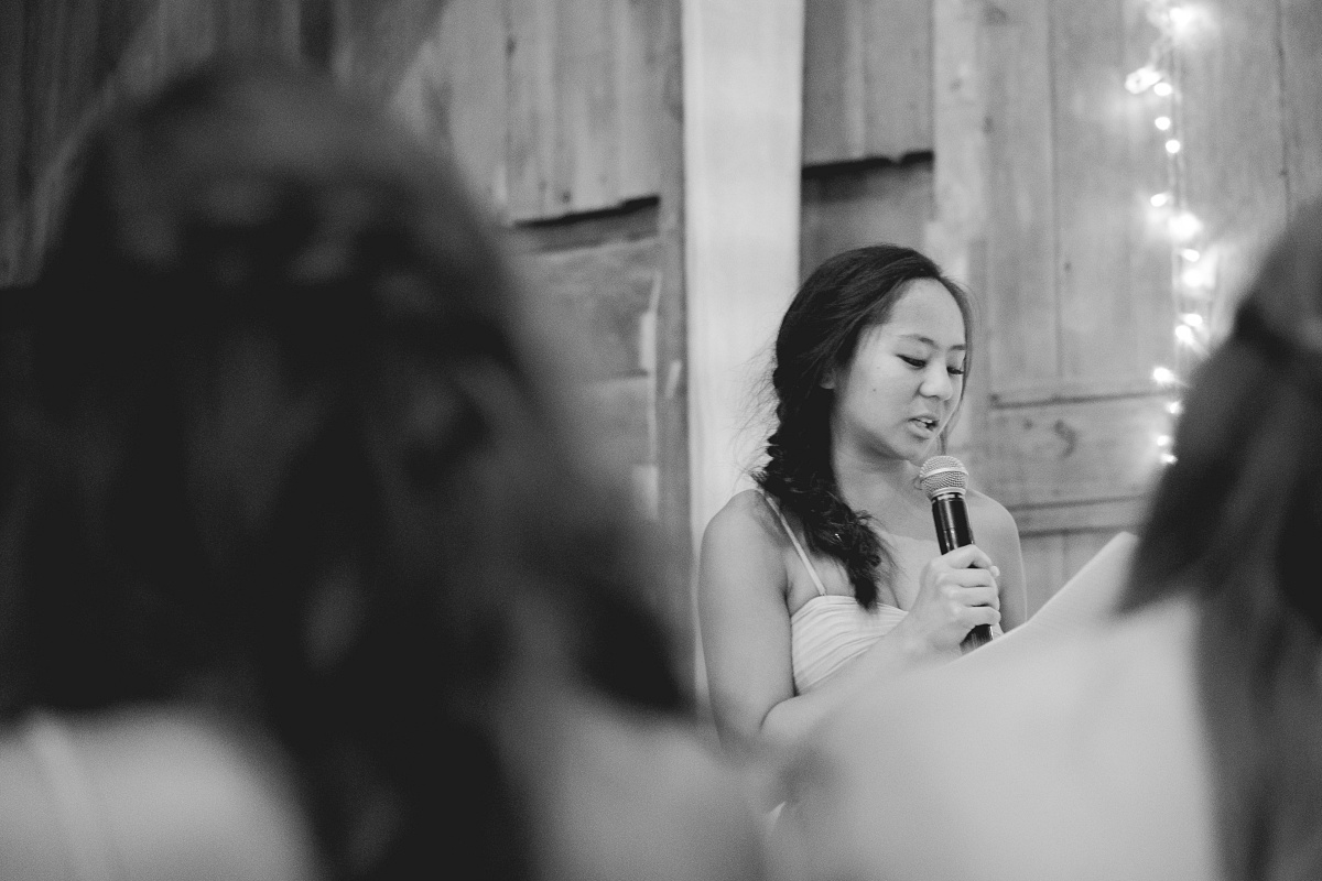 Close-up of maid of honor giving speech