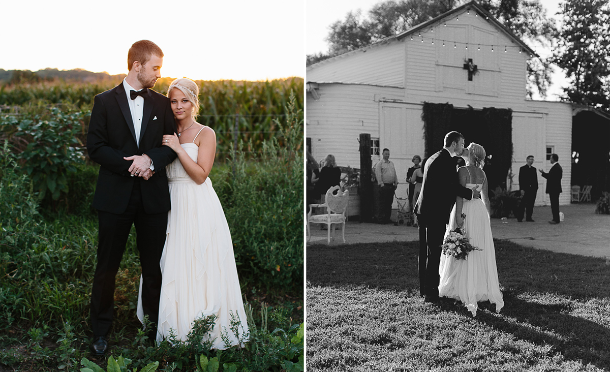 side by side shots of groom and bride at a farm