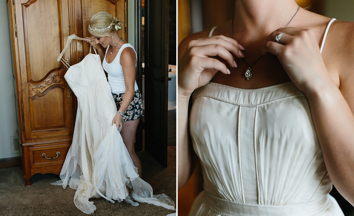 Nebraska bride puts on wedding dress and jewelry for the first time