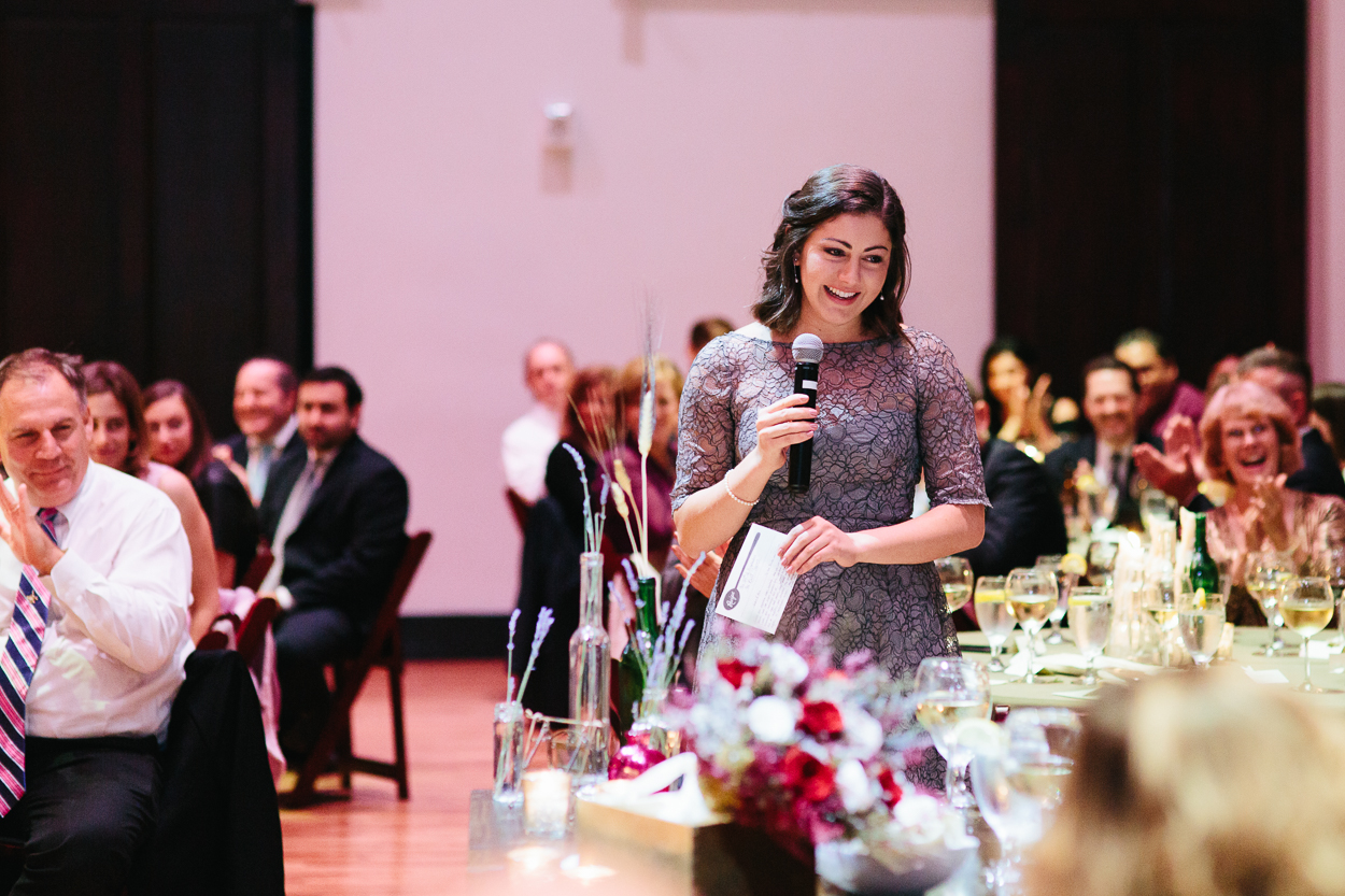 Maid of honor giving her speech