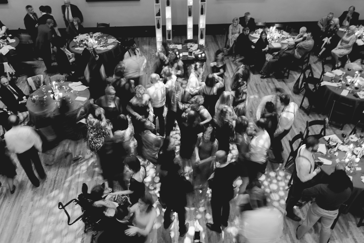 aerial shot of wedding party dancing at the Bell Tower reception