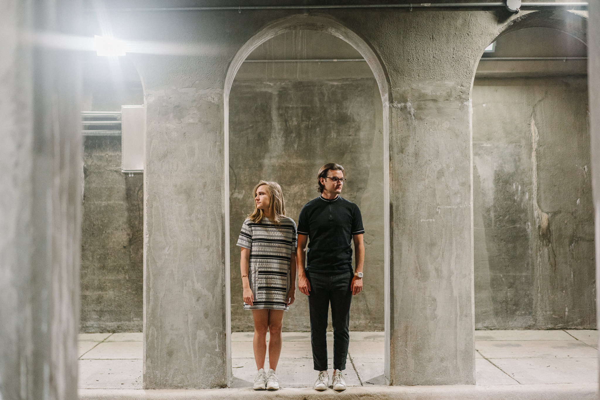 Night time engagement photos in West Loop of Chicago