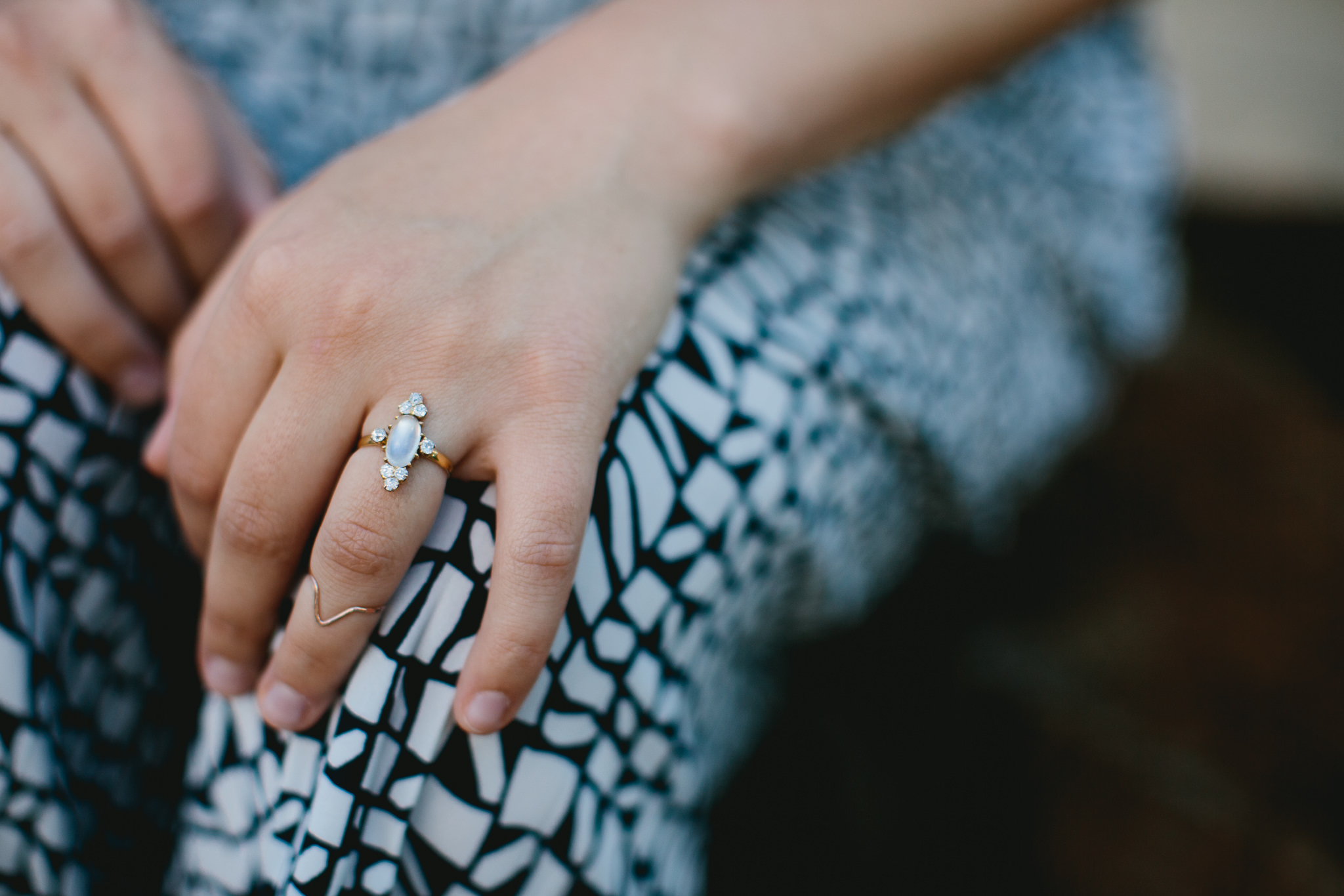 Beautifully unique engagement ring with midi ring