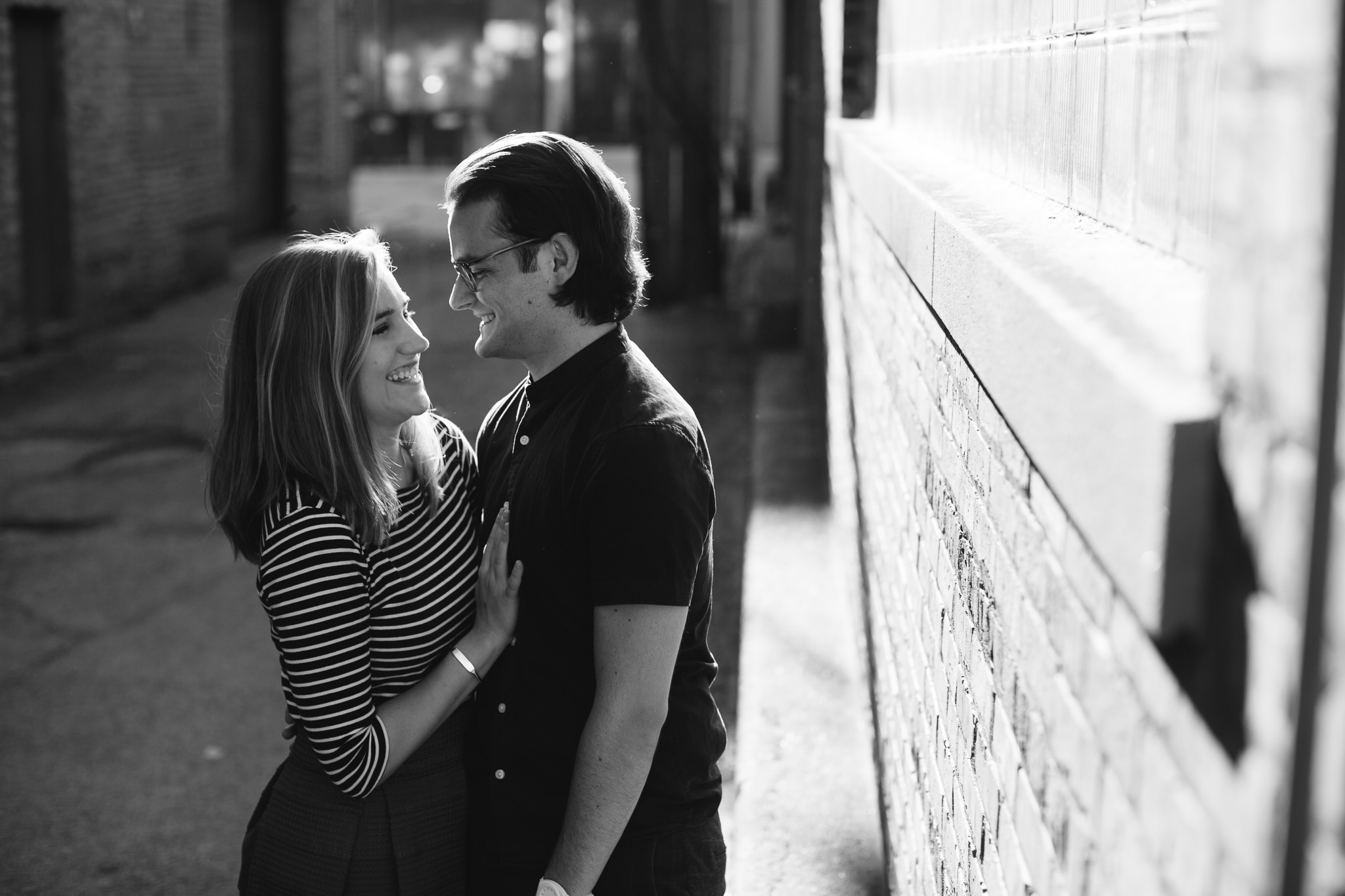 Black and White Alley pictures for engagement photo shoot