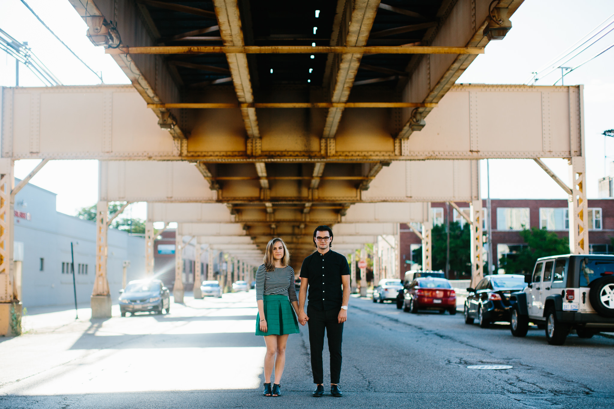 Engagement photos on the streets of the West Loop in Chicago